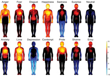 Mappa delle emozioni: ogni emozione scalda zone diverse del tuo corpo!